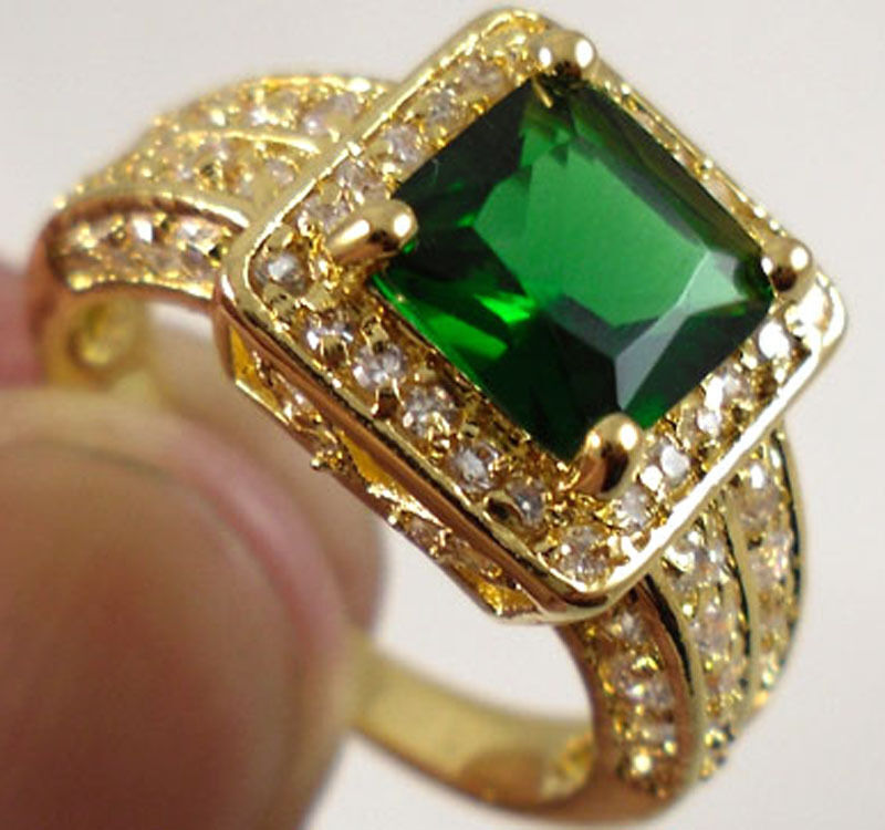 fashion princess cut green emerald 18k gold plated