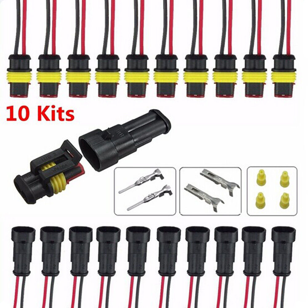 10 kits 2 pin way sealed waterproof electrical wire connector plug car auto set ebay. Black Bedroom Furniture Sets. Home Design Ideas