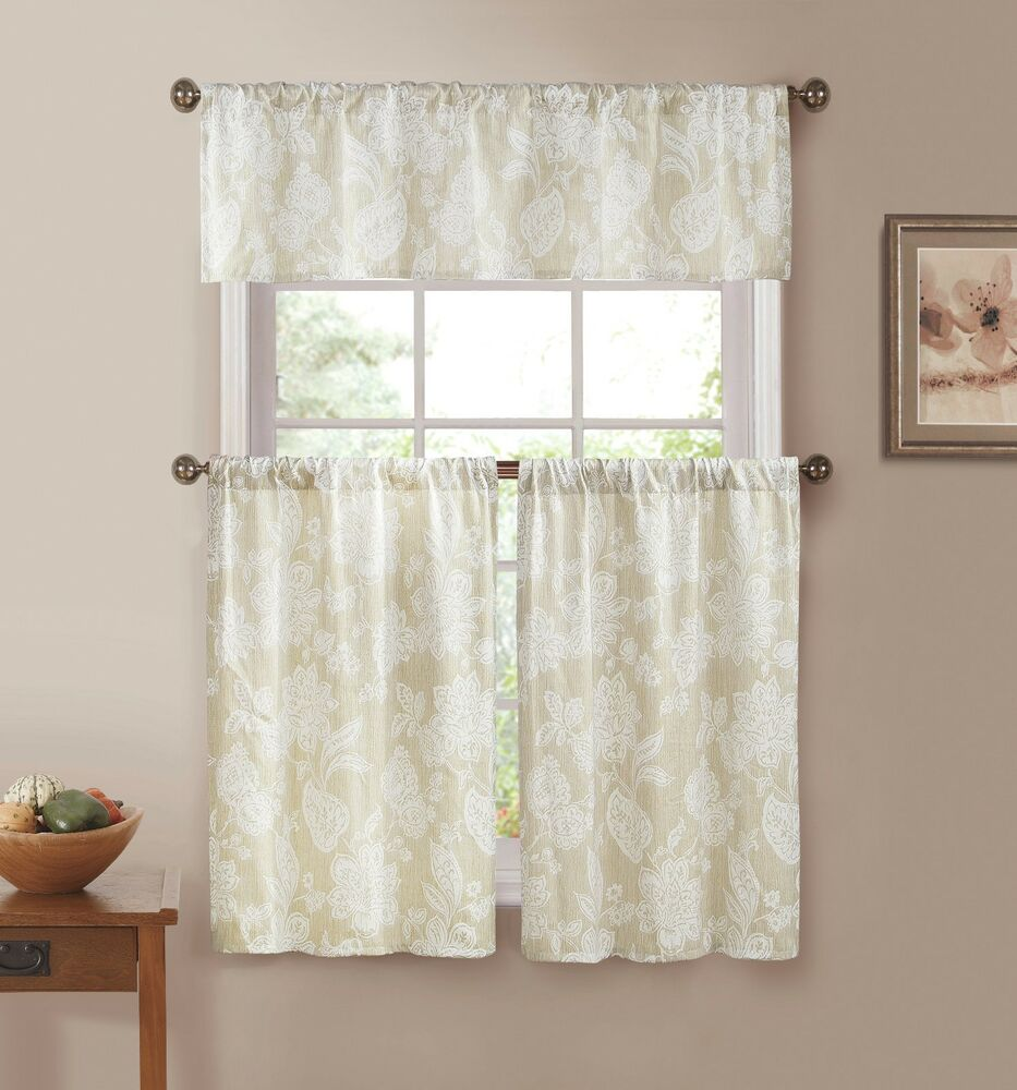 Blue Green Kitchen Curtains: Ivory With White Floral Print Country Kitchen Curtains