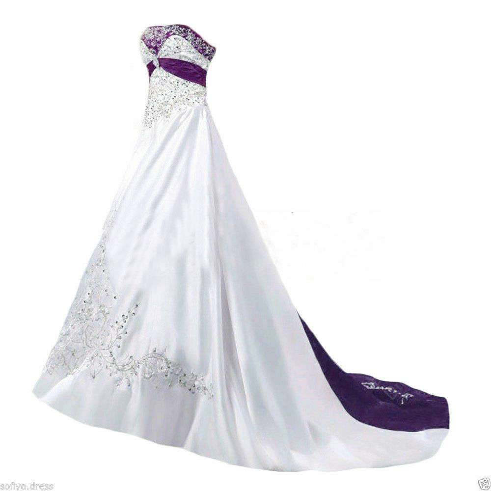 Plus size satin white and purple embroidery wedding for Wedding dresses with purple trim