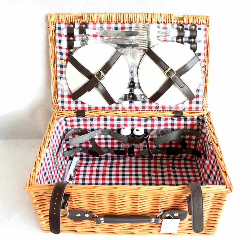 4 Person Picnic Basket Uk : Person luxury wicker picnic basket hamper cutlery plates