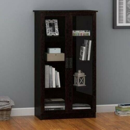 Espresso Wooden Glass Door Bookcase Bookshelf Media