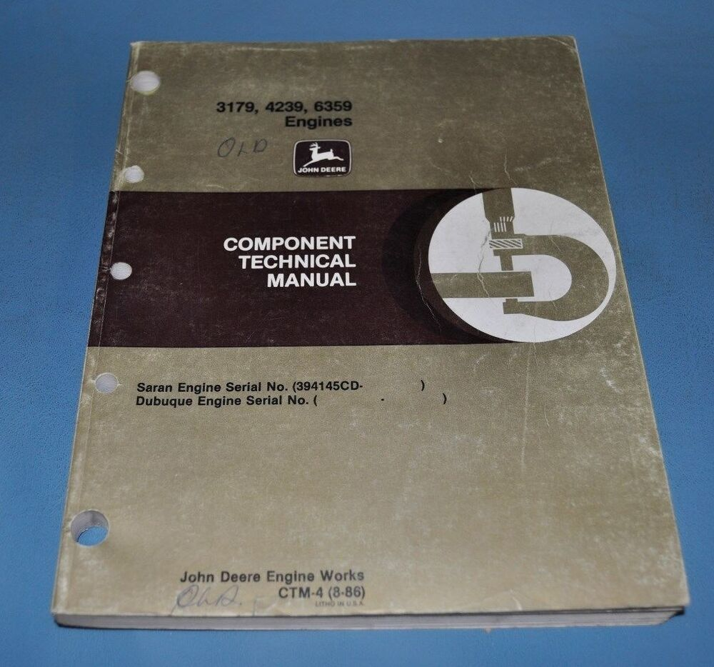 John Deere 3179 4239 6359 Engines Component Technical Service Manual CMT-4  8-86 | eBay
