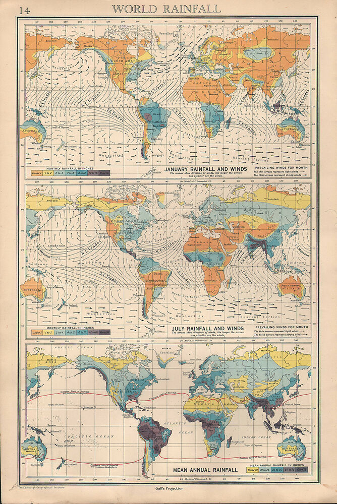 1936 map ~ world rainfall january & jully mean annual prevailing winds