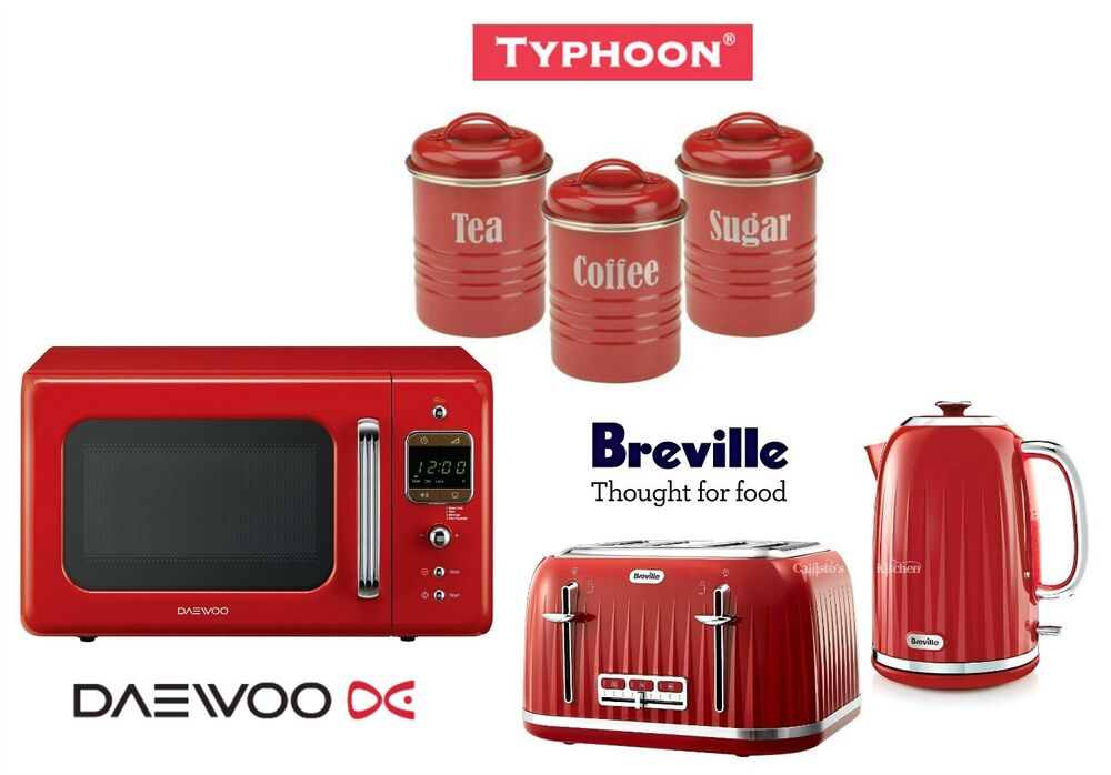 Breville Red Kettle and Toaster with Daewoo Microwave and Typhoon ...