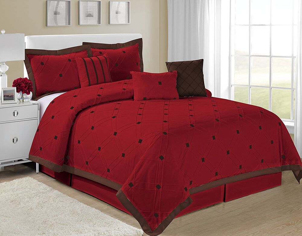 @homechoice 7 Piece Kaysha Embroidered Checker Comforter ...
