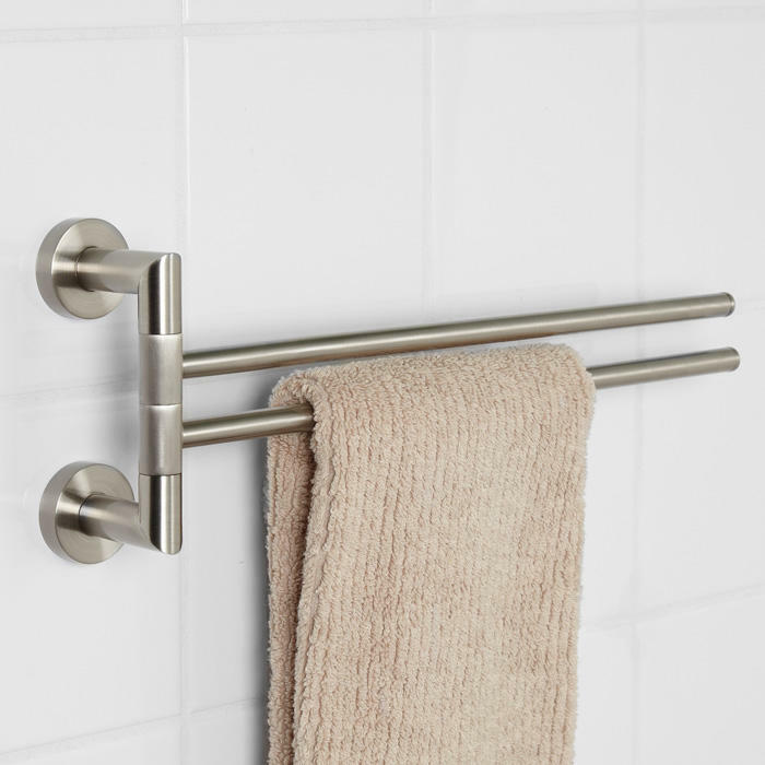 Signature Hardware Bristow Collection Double Swing Arm Towel Bar Brushed Nick