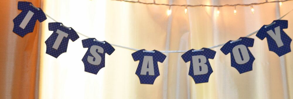 Its A Boy Blue Polka Dot Onesies Baby Shower Hanging Banner