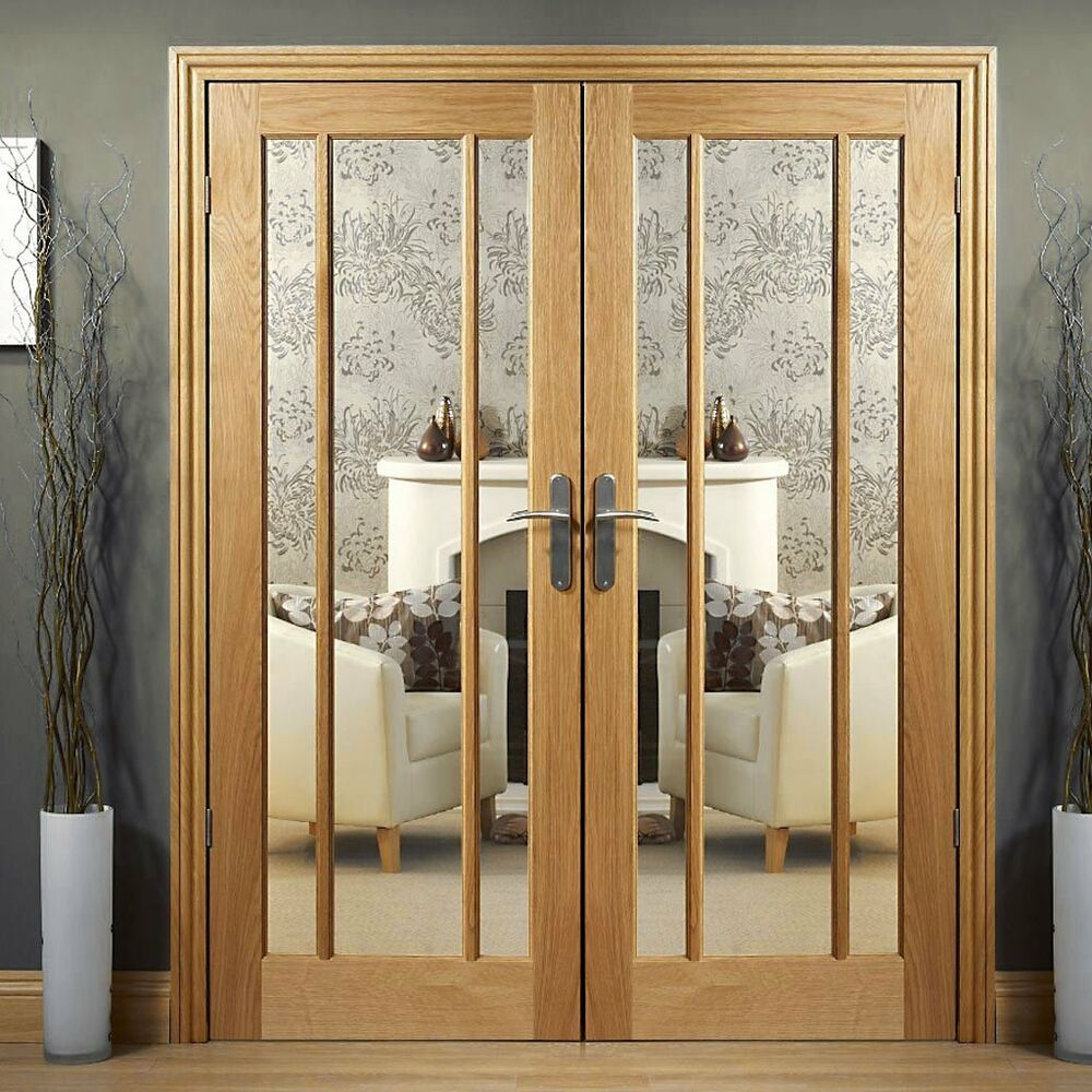 Oak worcester clear glazed internal french doors oak for Double door french doors