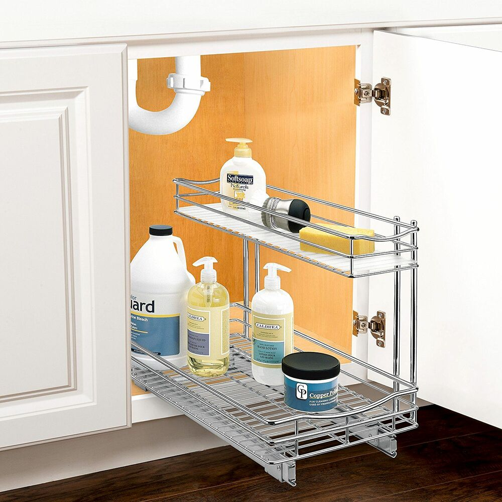 cabinet organizer drawer rack under sink kitchen pull out sliding shelf chrome ebay. Black Bedroom Furniture Sets. Home Design Ideas