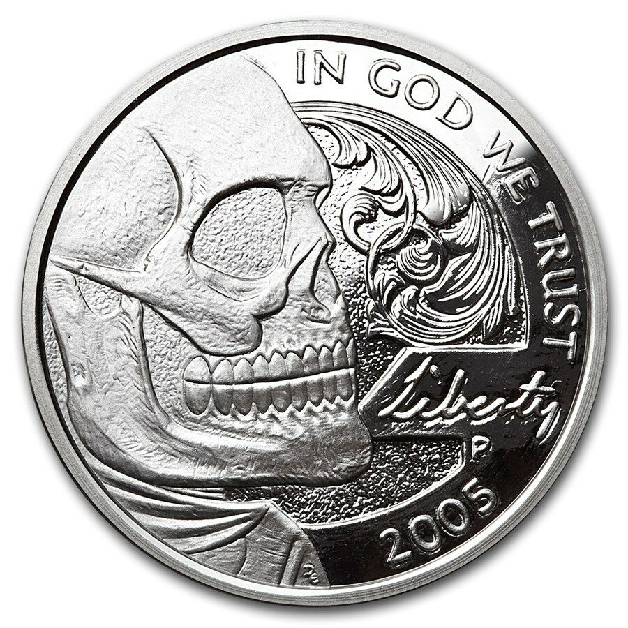 hobo nickel series jefferson skull 1 oz 999 silver proof like round usa coin ebay. Black Bedroom Furniture Sets. Home Design Ideas