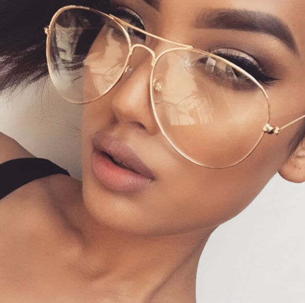 Large Aviator Clear Lens Gold or Black or Silver Metal ...