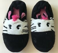 Girls Slippers 9/10 11/12 13/1 2/3 Black pink cat face style