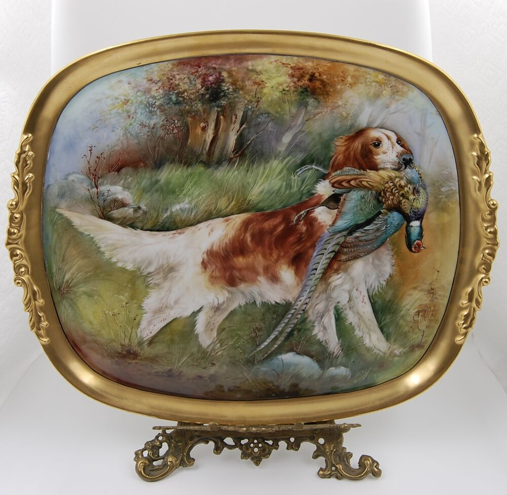 Antique limoges hand painted dog portrait game plaque for Hand painted portraits from photos
