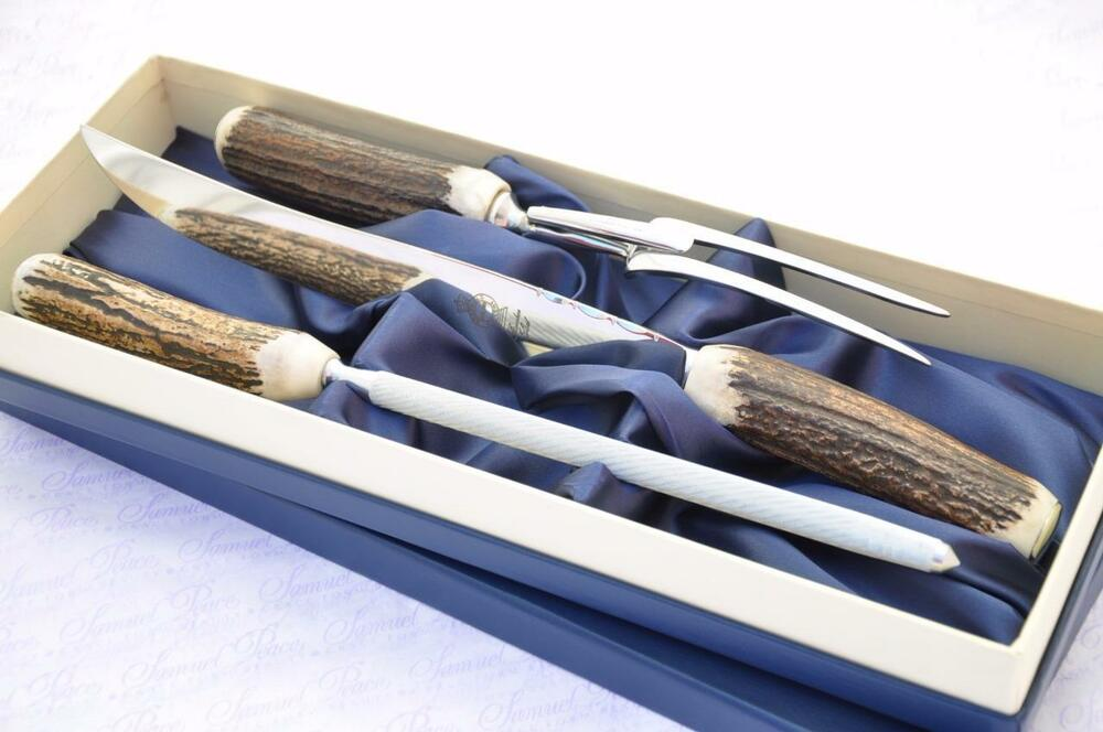 Genuine Stag Antler Handle 3 Piece Carving Set Boxed Made