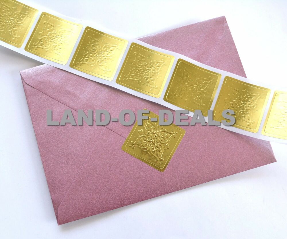 Details about 50 foil stickers envelope seal large gold square sticker seals embossed