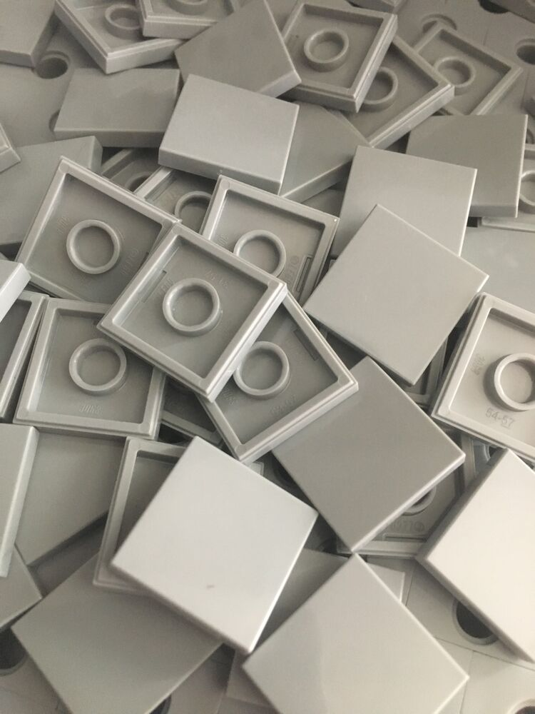 Lego New 50 Light Gray Grey Tiles Smooth Finish Tile 2x2