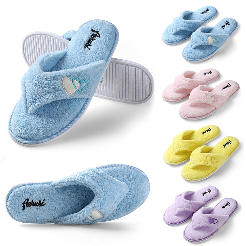 Women 39 S Plush Spa Thong Slippers Winter Warm House Shoes Us Size 6 7 8 9 10 11 Ebay