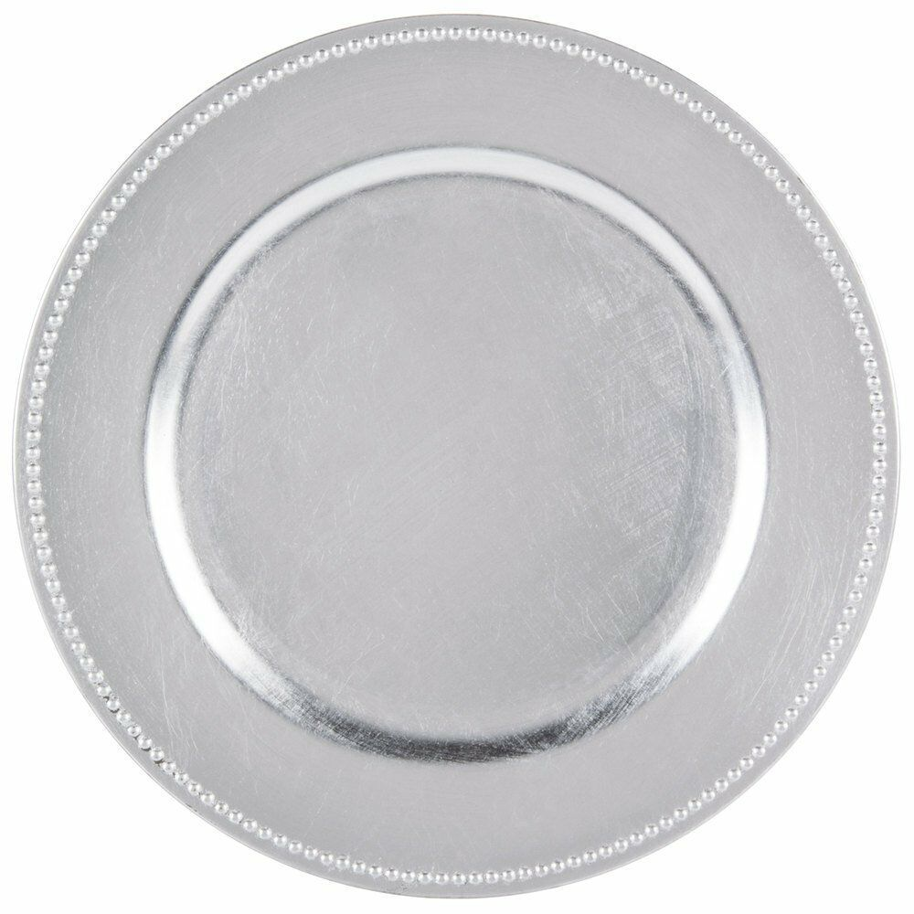 Round Charger Dinner Plates Silver Beaded 13 Inch