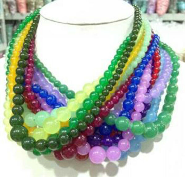 Wholesale 6-14mm multicolor gemstone beads Jewelry Necklaces 18