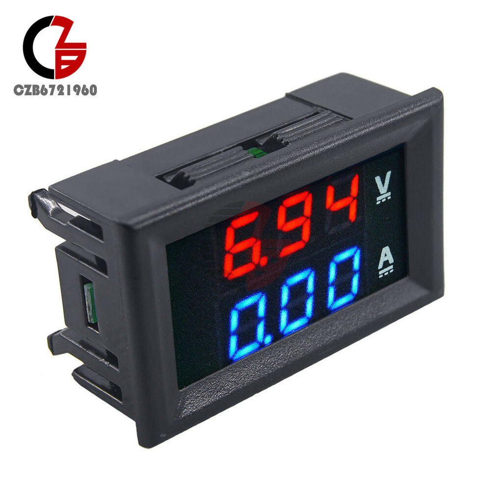 Small Digital Voltmeters Dc : Dc v a voltmeter ammeter blue red led dual digital