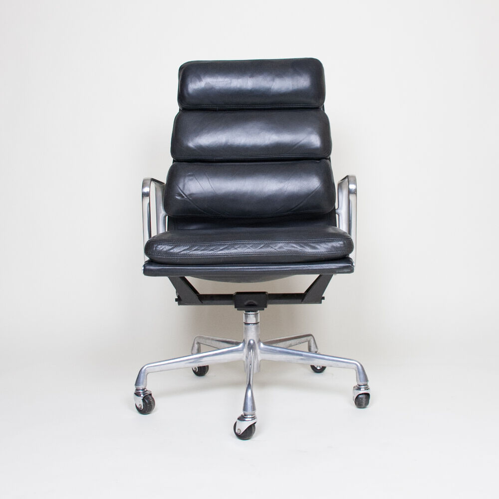 Eames Herman Miller High Back Soft Pad Aluminum Group Chair Black Leather EBay