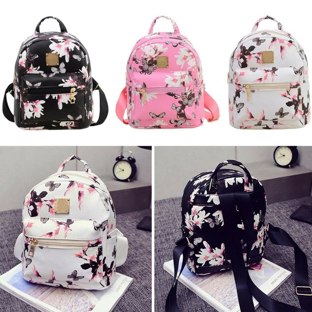 fashion women girl backpack floral leather school bag satchel rucksack travel