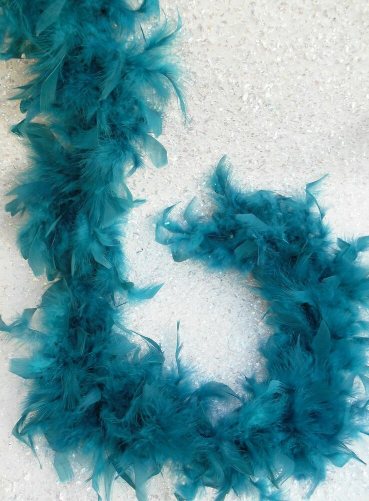 Ft peacock feather boa garland teal blue marabou