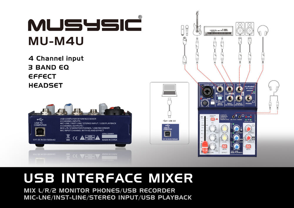 musysic 4 channel digital mixer with usb interface studio webcast podcast mu m4u ebay. Black Bedroom Furniture Sets. Home Design Ideas