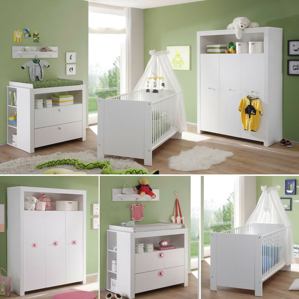 babyzimmer wei olivia wickelkommode babybett kleiderschrank kinderzimmer ebay. Black Bedroom Furniture Sets. Home Design Ideas