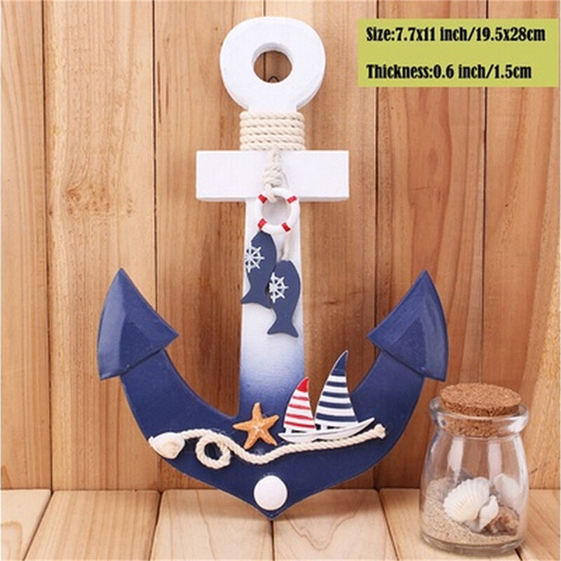 Wood nautical anchor wall hanging hook life buoy fish for Anchor decoration for the home