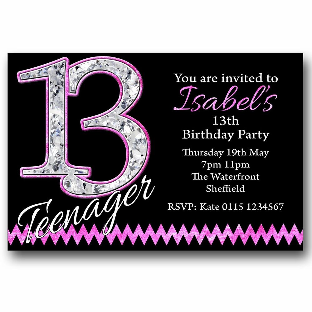 Details About 10 Personalised BOYS GIRLS Teenager 13th Birthday Party Invitations T216