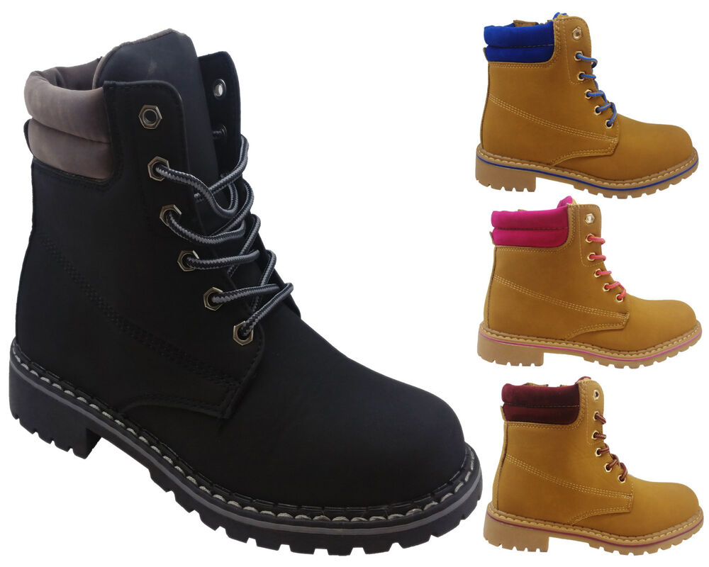 Ladies Hiking Boots Womens Winter Ankle Desert Trail Combat Chelsea Work Shoes | EBay