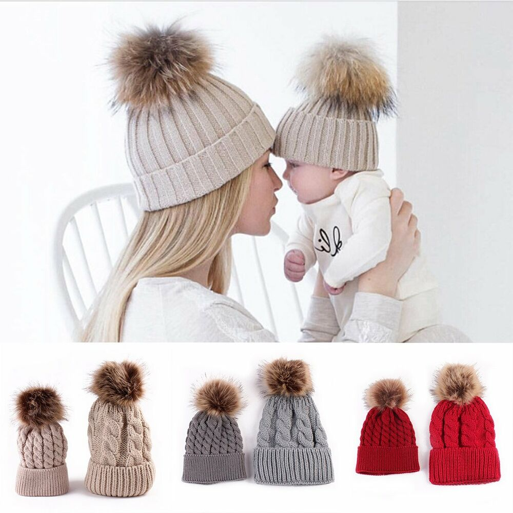 07ed5c9c0eb Details about 2016 Mother Baby Daughter Son Winter Warm Hat Family Crochet  Fur Ball Beanie Cap