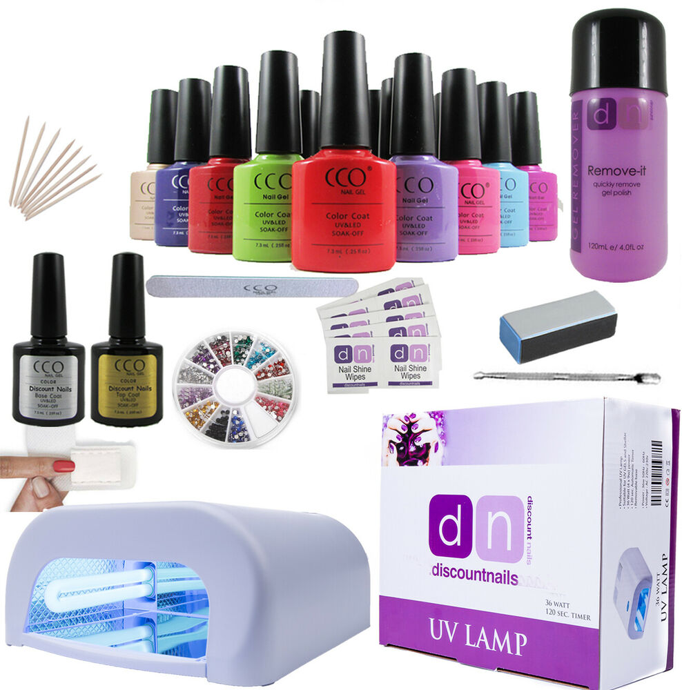deluxe uv nail gel polish starter kit set with 36w lamp light cco ebay. Black Bedroom Furniture Sets. Home Design Ideas
