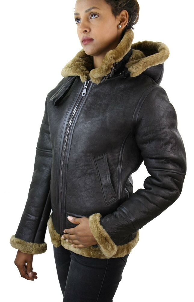 Ladies Aviator New Ginger Women's Hooded Real Shearling ...