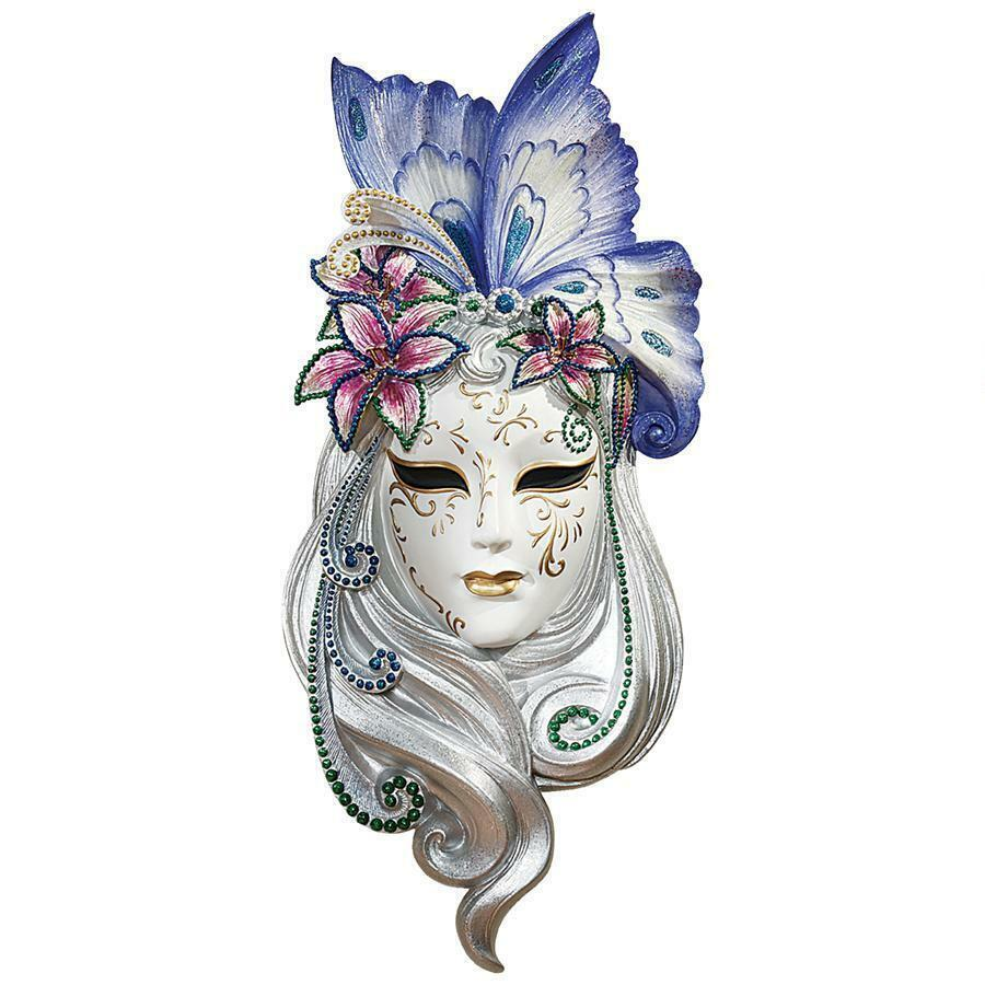 JEWELED VENETIAN JESTER WALL MASK SCULPTURE Masquerade ...