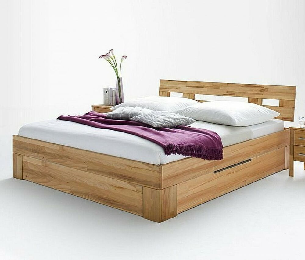 doppelbett 160x200 mit 2 schubladen bett funktions holz kernbuche massiv ge lt ebay. Black Bedroom Furniture Sets. Home Design Ideas