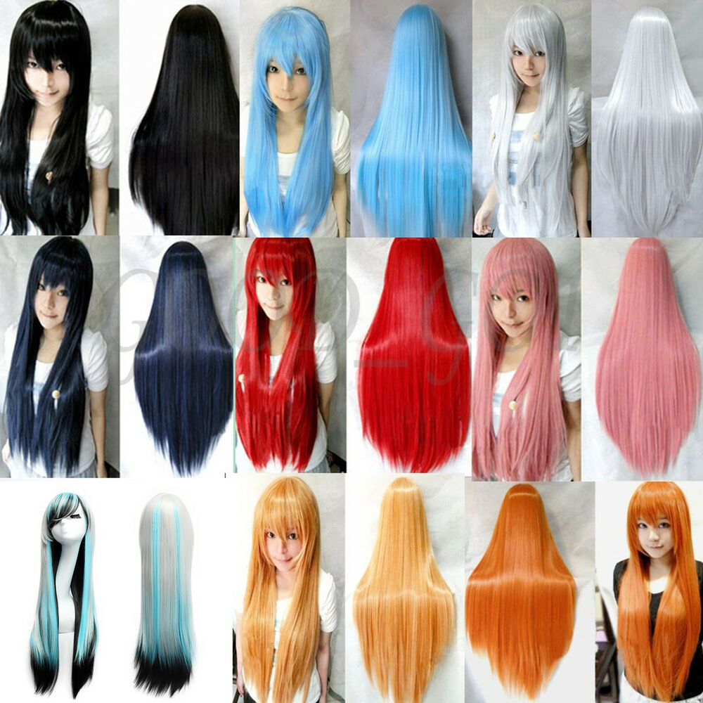 Cosplay Party Long Natural Straight Anime Wigs Full Hair ...