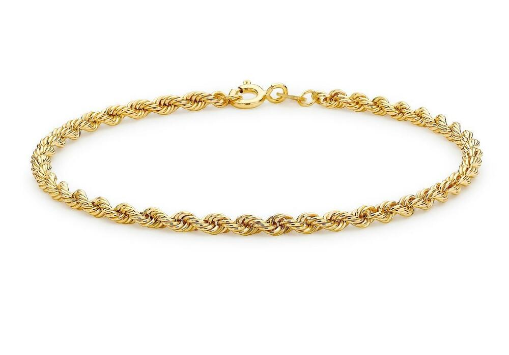 9ct Yellow Gold Hollow Rope Design Twisted Bracelet 18cm/7 ...