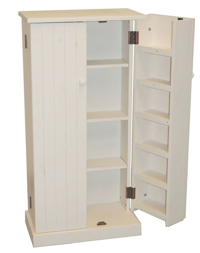 White Wooden Kitchen Pantry Cabinet Storage Organizer Food