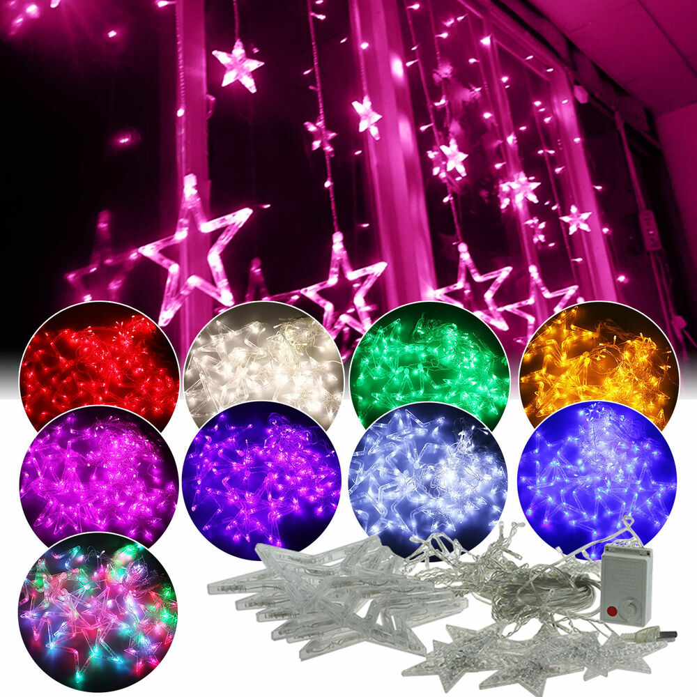 2m 168 led lichterkette stern vorhang fenster baum weihnachtsdeko flash leuchte ebay. Black Bedroom Furniture Sets. Home Design Ideas