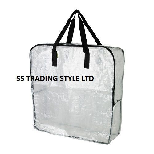 Strong Large Clear Transparent Plastic Zipped Storage Bags Saving Space By Ikea Ebay