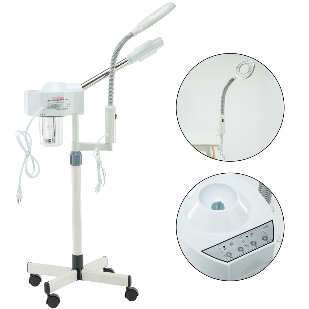 2in1 Facial Steamer 5X Magnifying Lamp Salon Hot Spa UV