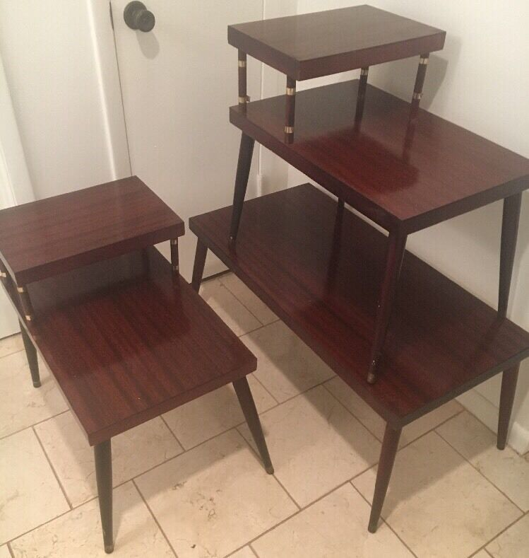 Mid Century Modern Coffee Table & Pair End Step Tables 3