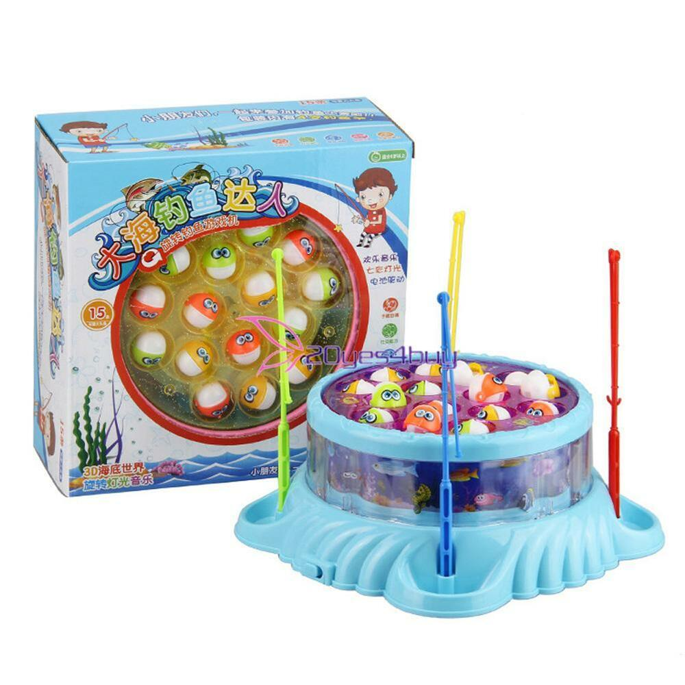 Fishing toys fish magnetic game spins light music play set for Fishing toy set