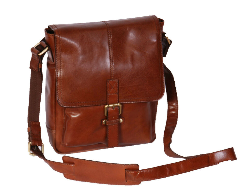 6a6bc35a19b6 Details about Mens Genuine LEATHER Crossbody Bag Chestnut Ipad Casual  Flight Messenger BAG NEW