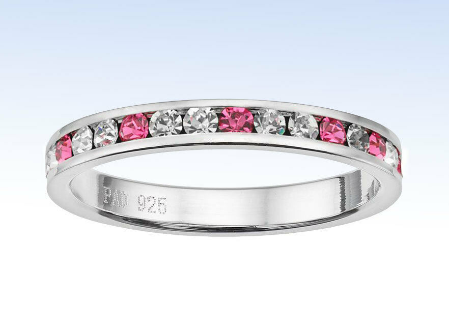 1367d3021 Details about Traditions STERLING SILVER Channel Set PINK Swarovski Crystal  Eternity RING - 10