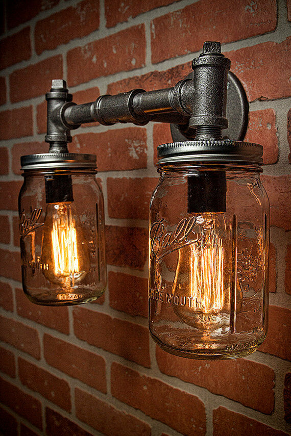 Two mason jar vanity sconce light fixture industrial for Industrial outdoor lighting