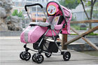 B07 Single Baby Pink Fabric Collapsible Aluminum Alloy 6 Wheels Strollers